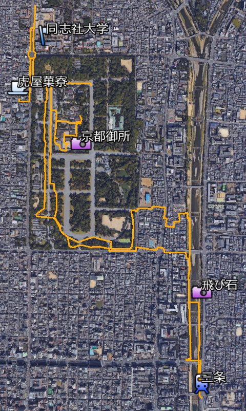 御所をぐるっと, a map of Kyoto Gosho (Kyoto Imperial Place) walking.